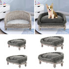 Raised Natural Wicker Pet Cat Dog Sofa Couch Blanket Mat Beds Cushion Optional