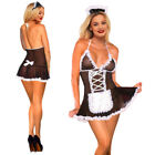 Women's Sexy Lingerie Mesh BDSM Cosplay Uniform French Maid Outfit Lace Up Dress