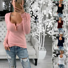 Women Round Neck Long Sleeve Sexy Stretch T Shirt Casual Loose Blouse Botton Top