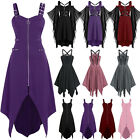 Womens Medieval Steampunk Gothic Halloween Cosplay Costume Strappy Midi Dress