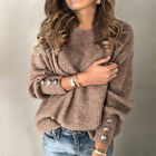 Women Long Sleeve Crew Neck T Shirt Casual Knitted Blouse Solid Loose Button Top