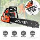 COOCHEER 62CC 20 Gas Chainsaw Handed Petrol Chain Woodcutting 2 Cycle 4HP B 122