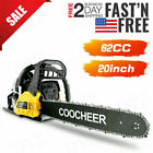 COOCHEER 62CC 20 Gas Chainsaw Handed Petrol Chain Woodcutting 2 Cycle 4HP B 145