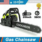 COOCHEER 62CC 20 Gas Chainsaw Handed Petrol Chain Woodcutting 2 Cycle 4HP B 151