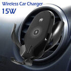 15W Qi Wireless Charger Fast Charging Car Mount Phone Holder Automatic Clamping