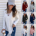 Women Drawstring V Neck Long Sleeve T Shirt Casual Solid Blouse Loose Tunic Tops