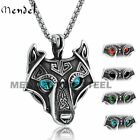 MENDEL Mens Stainless Steel Viking Evil Eye Wolf Head Pendant Necklace Chain Set