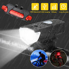 USB Rechargeable LED Bicycle Headlight Bike Head Cycling Light Front Rear Lamp