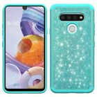 For LG Stylo 6 Glitter Bling Diamond Dual-Layer Rugged Case Cover+Tempered Glass