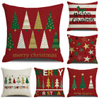 18 in Christmas Xmas Tree Snow Print Pillow Case Cushion Cover Home Sofa Decor