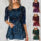 Womens Fashion Crew Neck 3/4 sleeve Print T Shirt Loose Tunic Casual Blouse Tops