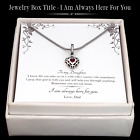 From Dad To Daughter-Vintage Style Zircon Charm Necklace-Stainless Steel Chains