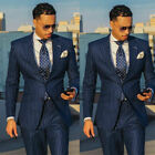 Business Men Striped Suit Slim Fit Groom Groomsman Wedding Stripes Tuxedos Prom