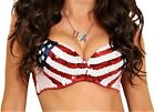 Arsimus USA Patriotic 4th of July American Flag Sequins Bra