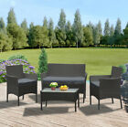 Garden 4 Piece Rattan Wicker Furniture Set Table Sofa  Black/Brown /Grey Patio