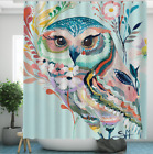 Animals Floral Bathroom Decor Fabric Shower Curtain Set Waterproof 12 Hooks 71in