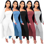 Fashion Clubwear Women Solid Long Sleeves Coat Bodycon Strapless Jumpsuit 2pcs