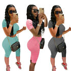 Women Two Piece Outfits Tracksuit Summer Casual Short Sleeve Top Bodycon Set