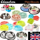 Chameleon Pet Bowls, stainless Dog Cat Slow Food Feeder Healthy Gulp Feed Dish