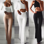 Women's Solid High Waist Flare Wide Leg Chic Trousers Bell Bottom Yoga PantsM sh