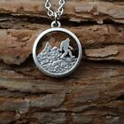 Bigfoot Necklace Pendant Running In The Mountain Sasquatch Antique Silver-plated