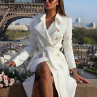 Womens Vintage Double Breasted White Trench Coat Sash Slim Long Work Office HOT