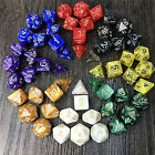 7X Polyhedral Acrylic Dungeons Dragons Dice Multiple Sides Role Playing Games QW
