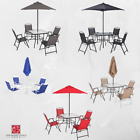 6 Piece Patio Dining Set Outdoor Bistro Table Chairs Umbrella Garden Furniture