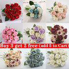 12 Heads Artificial Silk Flowers Bunch Rose Bouquet Wedding Home Party Decor New