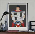 Superman poster Superman on toilet DC, Restroom Wall Art Hanging Print, funny