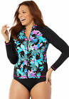 Swimsuits For All Women's Plus Size Zip Front Long Sleeve Swim Shirt
