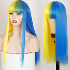 Long Straight hair Cosplay Wig Two Tone Ombre Color Women Synthetic Hair Wigs