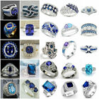 Gorgeous Blue Sapphire Jewelry 925 Silver Ring Women Engagement Rings Size 6-10