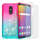 For LG Stylo 5/Stylo 4 Liquid Glitter Bling Soft Case w/Tempered Glass Protector