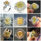 Fashion Women 925 Silver Citrine Ring Wedding Engagement Jewelry Rings Size 6-10