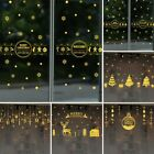 Christmas Wall Stickers For Shop Glass Decor Gold Removable Hot Practical