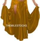 TMS Gold Satin Slit Full Circle Skirt Belly Dance Gypsy