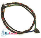 Tribal Surfer leather Hemp shell bead Choker 2 Necklace