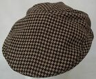 FLAT CAP HAT BROWN OR GREY DOGTOOTH CHECK  57 OR 58CM