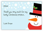 10 Personalised SNOWMAN Christmas Thank You Note Cards