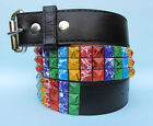 Rainbow Coloured Streak Splat Stud Studded Snap on Belt