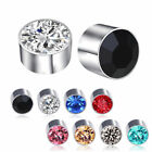 1 Pair MAGNETIC DIAMANTE Stud EARRINGS ROUND 6 Colors 6mm Men Women