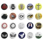 Button Pin Jesus Ichthys christlich Kreuz versch Motive