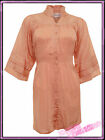 Womens Plus Size Peach Cotton Blouse Plain Top Ladies
