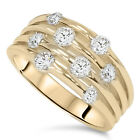 1.00CT Journey Diamond Ring 14K Yellow Gold NATURAL Diamond WIDE Right Hand Band