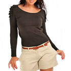 Women Top Ladies NewT shirt Ruffle Shoulder Jumper Grey Khaki Black Ladies UK M