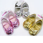 Baby Girl Shiny Bow Shoes in Metallic Silver, Gold or Pink 6-9 -9-12 -12-15 Mths