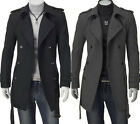 Men Top Designed Slim Double Breasted Trench Coat Jacket M L XL XXL H53