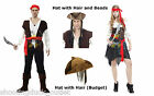 Caribbean Pirate Swashbuckle Buccanee Fancy Dress Tricorn Hat Wig Jack Sparrow