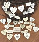 East of India Tiny Small Wood Heart Rectangle Messages Gift Tags Signs Keepsake